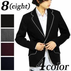 送料無料 テーラードジャケット メンズ 長袖 スーツ 高級感 パイピング ブレザー ジャケット 黒 ブラック 大きいサイズ アメカジ系