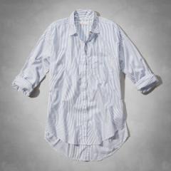 正規品 アバクロ シャツ 長袖 レディース ストライプ コットン Abercrombie&Fitch 140-1539-024stripe