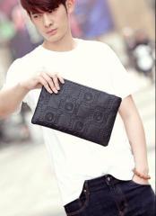 メンズ  クラッチバッグ ネイビーブルー/ブラック 革 大人鞄 品質良い ハンドバッグ 大きい財布 フェイクレザーPU バッグ 男性