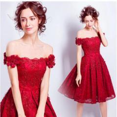 パーティードレス オフショルダー ミニドレス ウエディングドレス ショートドレス 花嫁 お呼ばれドレス 二次会 大きいサイズ