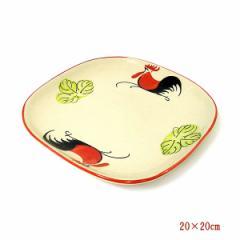 にわとり柄のお皿 四角皿 [約20cm角]ローカル品...