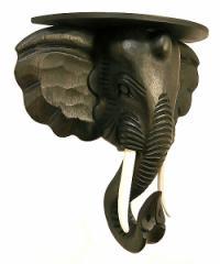 【送料無料】壁掛け象さんのウォールラック壁掛けハンガーミニテーブル H.42cm バリ雑貨 アジアン雑貨