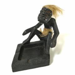 木彫りの原人灰皿 G ひし形 [灰皿横幅約12cm] バリ雑貨/アジアン雑貨
