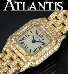 銀座 カルティエ Cartier ミニパンテール ダイヤ K18YG 腕時計