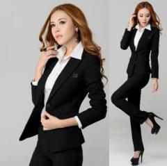 レディース上質スーツ上下2点セットアップ長袖ジャケット+パンツ(スカート)オフィス フォーマルスーツ OL通勤リクルートブラック黒色