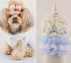 犬 犬服 ワンピース Mサイズ ホワイト&ピンク ペットウェア ドッグウェアー 女の子用