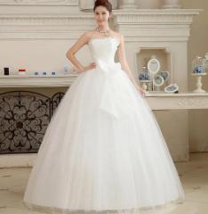 ウェディングドレス チュールワンピ花嫁エレガントプリンセス結婚式ブライダル披露宴パーティーAラインロング二次会ビスチェ大きいリボン