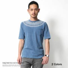 【SALE】Tシャツ メンズ 5分袖 インディゴ 球心 クルーネック カットソー スラブ天竺 5908【pre_d】