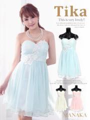 Tika ティカ パステルカラーチュールミニドレス ブルー ピンク イエロー Mサイズ キャバ ドレス キャバドレス