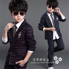 子供スーツ 男の子 キッズ フォーマル  コート 洋服 卒業式 入学式 七五三  シャツ付き  タキシード  ジュニア チェック スーツ
