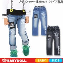 SALE50%OFF アウトレット BDJ_ラクガキ風デニムロングパンツ ベビーサイズキッズベビードールジーンズ 子供服-6607K