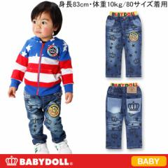 NEW♪BDJ_総柄デニムロングパンツ-ベビーサイズベビードールジーンズ 子供服-5940B