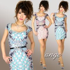 キャバドレス/SD1502-018/ゴシック柄袖付きタイトミニ ベルト付セレブワンピドレス