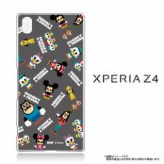Xperia Z4 (SO-03G SOV31 402SO) クリアケース 【Disney/ディズニー】 「MICKEY&FRIENDS(グレー)」  (Z4-71597)
