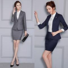 ミニタイトスカートスーツ予約ツーピース上下セットOL通勤膝上面接ビジネススーツ長袖ジャケット+スカート2点セットS-4L XZ-X820