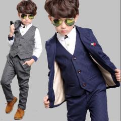 薄手結婚式/長袖スーツ+パンツ+ベストフォーマル子供服 男の子スーツ発表会卒業式3点セット キッズ100~160セットアップ/純色