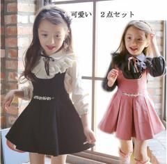 サロべットスカート 女の子 入学式 Tシャツ+サロべットスカート ワンピース ★2点セット★/子供服 女の子 スカート 入学式