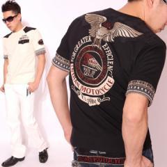 インディアンモトサイクル フェイクレイヤード 5分袖 Tシャツ ロゴ&イーグル 刺繍(IMST-601)【送料無料】INDIAN MOT