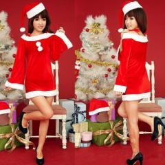 大特価!1700円!帽子付きサンタコスプレ衣装!クリスマス
