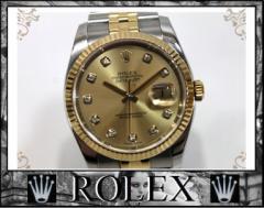 ★ロレックス デイトジャスト 10Pダイヤ メンズ腕時計 SS×YG 自動巻★