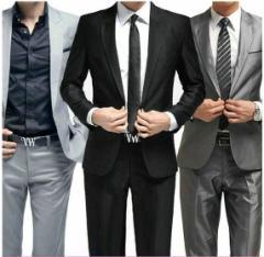 メンズ/スリム/1ボタン/スタイリッシュビジネススーツ/結婚式/就職/メンズ/紳士/パンツ+ジャケット/2点セット/上下セット/12色あり