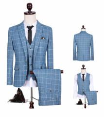 3ピーススーツ/メンズ/ベスト+パンツ+ジャケット/チェック柄/就職ビジネススーツ/スリムスーツ/紳士服 入学式 結婚式 二次会