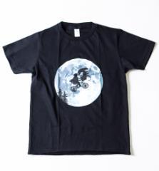 キッズ プリントTシャツ 地球外生命体との月夜のサイクリング ボーイズ ガールズ 半袖 子ども 子供服