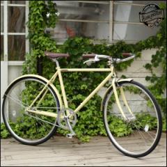 """BURLINGTON バーリントン """"1S"""" マットアイボリー 700C シングルスピード レトロ 自転車"""