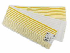 半幅帯 半巾 細帯 浴衣帯 四寸帯■リバーシブル四寸帯■白地 黄色地の縞 柄 no233