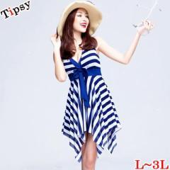 【Tipsy大きいサイズ★L〜3Lの選べる4サイズ】アシメトリーラインボーダーAラインワンピース水着(L/LL/3L)(07)