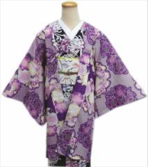 和装着物冬の必需品 小粋なH・L(アッシュエル)洗える長羽織紫ひった地八重桜蝶(フリー)