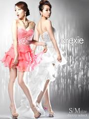 送料無料 [SMサイズ] drexie ティアードフリル2wayテールカットロングドレス / 前ミニドレス 白ピンク [select]