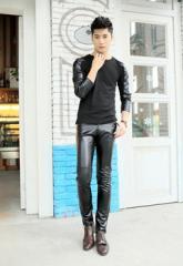 【セール】お兄系 革ジャン レザーパンツ メンズ ライダース スキニーパンツ フェイクレザー メンズファッション ボトムス  革 パンツ