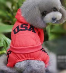秋冬犬服 冬わんちゃん服 USAロゴ入りわんちゃんロンパース あったか犬服
