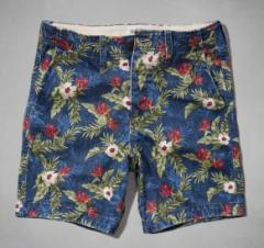 アバクロ メンズ ショートパンツ 正規 花柄 128-0488-021navy abercrombie&fitch Preppy Fit Shorts