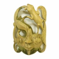 木彫りワルーのアートマスクお面 E [縦約24cm]ナチュラル エスニック バリ アジアン アジアン雑貨
