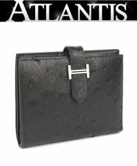 銀座 エルメス ベアンコンパクト 財布 SV金具 オーストリッチ 黒 □H刻印
