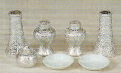 神道専科:神具(内祭用) NO.228 ●銀チジミセット・小 3.5寸 税抜¥6300円