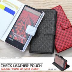 AQUOS PHONE Xx mini 303SH ケース 市松模様 格子柄 チェック柄 レザー 手帳型ケース スマホケース カバー アクオスフォン xx mini 303sh