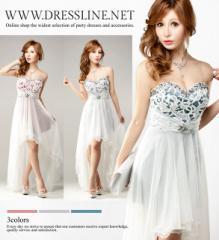 ホワイトチュール×レース テールカットマレットドレス