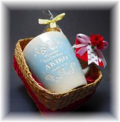 名入れ【ホワイトデー限定】水色陶器マグカップ/ホワイトデー・誕生日・還暦祝い・母の日・父の日・結婚記念・記念ギフト