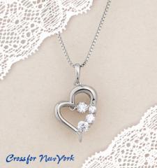 クロスフォーニューヨーク 「D-3stone Heart」 NYP-585 シルバー 女性用 可愛い ネックレス 送料無料