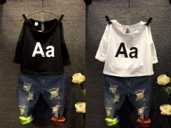 【即納】 セットアップ 長袖Tシャツ デニム デニムパンツ 上下セット 子供 キッズ 男の子 女の子 子供服 男女兼用 3 4