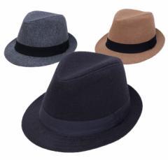 【サイズ調節可能】シンプルメルトン中折れハット (帽子 メンズ レディース)