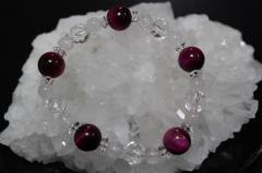 ピンクタイガーアイ ローズクオーツ 多面 カット 水晶  数珠 ブレスレット 送料無料 パワーストーン 010c04