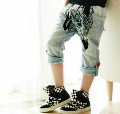 【ゆうメール送料込み】韓国子供服ゼブラハーフデニムパンツ110〜160cm