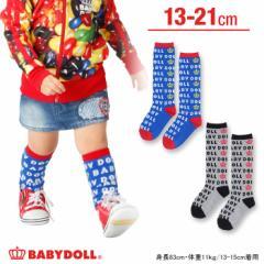 NEW♪総柄ロゴハイソックス/靴下/レッグウェア/キッズ/ベビードール 子供服-5166