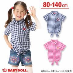 SALE50%OFF アウトレット 前絞りギンガムチェックシャツ ベビーサイズ キッズ 襟付き ベビードール 子供服-7655K