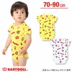 SALE50%OFF アウトレット ベビー肌着/バーガー柄(新生児用/半袖ボディスーツ型) ベビーサイズ ベビードール 子供服-5728B