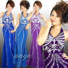 キャバドレス/LD1301-011/シフォン ホルターネック ビーズ&スパン ゴージャスドレス